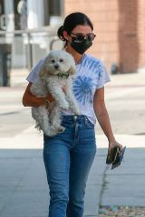 Lucy Hale Brings her dog along as she stops by the Westfield fashion square in Sherman Oaks