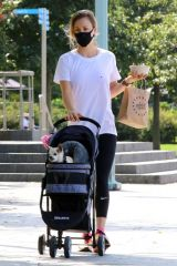 Kaley Cuoco Out with her dog Dumpy in NYC