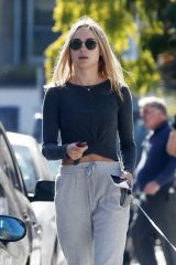 Kimberley Garner Walks her dog in Chelsea