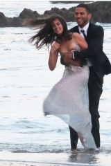 Ana De Armas On the beach filming a perfume commercial in Malibu,