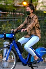 Katie Holmes Riding an electric Citi Bike in NYC
