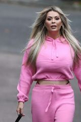 Nicola McLean Spotted being on trend with a visible thong while walking her dog in London
