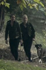 Amber Heard Hiking in Griffith Park with her dog
