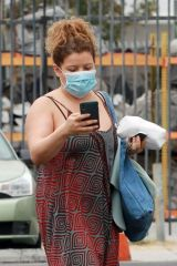 Justina Machado Seen arriving and leaving dance practice at the DWTS studio in Los Angeles