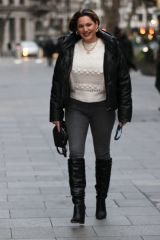 Kelly Brook Pictured at Heart radio in boots and tight denim in London