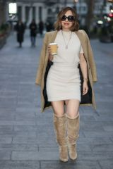 Myleene Klass Looks chic in cream dress and boots at Smooth radio in London