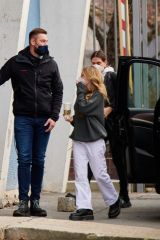 Helene Boshoven Samuel (Leni Klum) Arriving at Kraftwerk building in Berlin-Kreuzberg for a photo shoot
