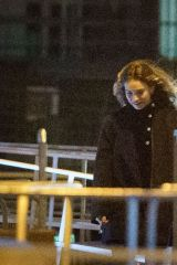 Lily James On the set of 'What's Love Got To Do With It' in London