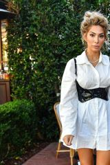 Farrah Abraham Looks hot in a white dress and a black corset as she sips on iced coffee in Pacific Palisades