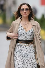 Myleene Klass Looks stunning in Polka Dot Dress and trench coat in London