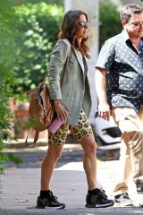 Elsa Pataky Steps out wearing leopard print athletic shorts in Sydney