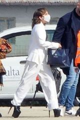 Lady Gaga Seen at the Leonardo da Vinci International Airport in Rome, Italy