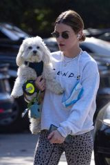 Lucy Hale Out for a hike with her dog in Los Angeles