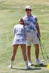 Miles Teller & Keleigh Sperry Plays a round of golf on a nice and sunny Saturday in Los Angeles