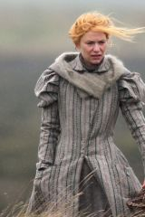Claire Danes Wearing a Victorian costume dress was spotted looking cold, filming 'The Essex Serpent' in London