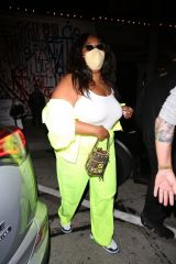 Lizzo Leaves dinner at Craig's wearing a vibrant outfit in West Hollywood