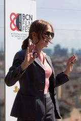 Isabelle Huppert Poses during the presentation of her last film 'Mother Mary' in Barcelona