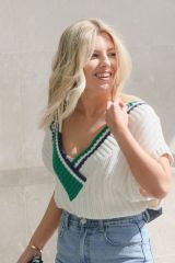 Mollie King Looks absolutely sensational in a knitted cream cricket vest and tight denim jeans at BBC Studios in London