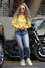 Rebecca Gayheart Playfully wrestles with her daughter while picking her up from a friend's house in los Angeles