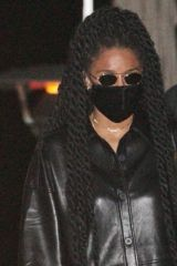 Ciara Steps out in an all black leather outfit as she enjoys a girl's night with friends at celebrity hot spot Nobu in Malibu