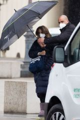 "Lily Collins Shooting scenes of ""Emily in Paris"" season 2 at Le Louvre in Paris"