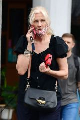 Joely Richardson Opts for a chic look as she take her pet pooch out for a walk in London's Notting Hill