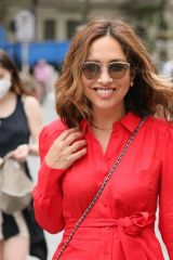 Myleene Klass Looks red hot in a long red dress at the Smooth Radio Studios in London