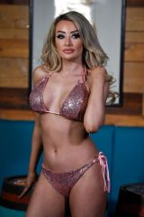 Chloe Crowhurst In bikini on a photoshoot for Mirror Image fashion brand in Manchester