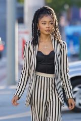 Skai Jackson Steps out in striped pant suit for dinner at Katana in West Hollywood