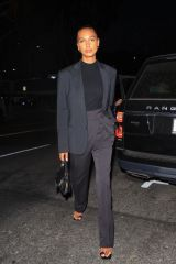 Jasmine Tookes Looks business chic arriving for dinner At San Vicente Bungalows in West Hollywood