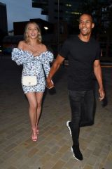 Helen Flanagan Flashes her legs in floral dress on date night in Manchester