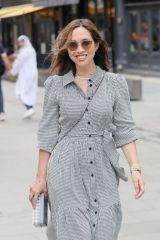Myleene Klass Looks chic in a beautiful checked cotton dress at Smooth radio day after being heckled by Scottish fans in London