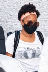Phoebe Robinson is seen arriving to her comedy show during the 'New Me, Same Trash Jokes' tour in Philadelphia