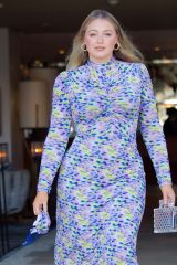 Iskra Lawrence In a pastel Tanya Taylor Dress on her way to Ole Henriksen's Dewtopia event