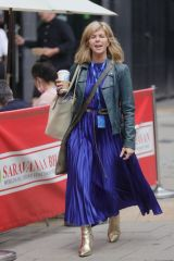 Kate Garraway Looks stunning wearing an electric blue pleated dress at Smooth radio in London