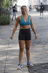 Gina Rodriguez & Tom Ellis Filming a jogging scene for 'Players' in New York