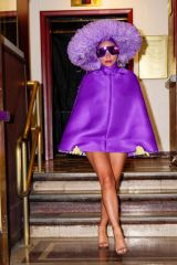 Lady Gaga Departs the first night of rehearsals at Radio City Music Hall wearing all purple with Marc Jacobs sunlasses