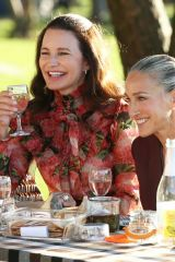 Kristin Davis, Sarah Jessica Parker & Cynthia Nixon Film a picnic scene in Battery Place for 'And Just Like That' in New York