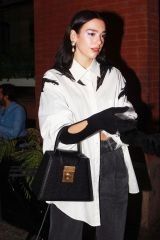 Dua Lipa Wears a monochrome ensemble as she and Anwar Hadid step out for dinner in New York City