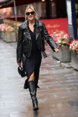 Ashley Roberts Looks chic in a high split comfy dress at Heart radio in London