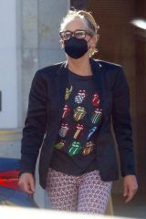 Sharon Stone Wearing a Rolling Stones shirt goes shopping after the Jonah Hill controversy in Beverly Hills