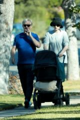 Elsa Hosk Seen taking a stroll with her father and daughter Tulukki near her home in Pasadena
