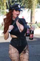 Phoebe Price Seen in a police costume in Hollywood a little early for Halloween