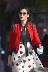 Famke Janssen Wears a red bomber jacket paired with a white heart-printed skirt while out in the West Village in New York