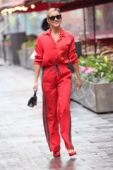 Ashley Roberts Rocks red as she steps out from Heart radio in London
