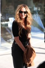 Drea de Matteo Waits for her car at the valet after lunch at celeb hot spot Il Pastaio in Beverly Hills