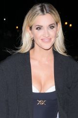 Ashley Roberts Looks sensational in a busty blue dress at Strictly Takes Two studios in London