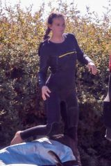 Leighton Meester Catches some waves on a solo surf session in Malibu