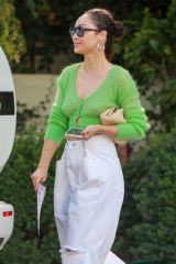 Cara Santana Seen hugging her lunch date before leaving the San Vicente Bungalows in West Hollywood
