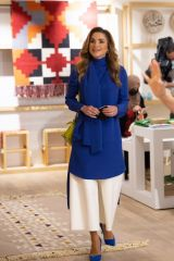 Queen Rania of Jordan Out to launch the 24th Jordan River Designs Handicrafts Exhibition in Amman